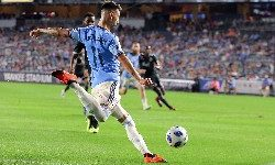 Aug 4, 2018; New York, NY, USA; New York City FC forward Valentin Castellanos (11)  passes the ball during the second half against the Vancouver Whitecaps at Yankee Stadium. Mandatory Credit: Vincent Carchietta-USA TODAY Sports