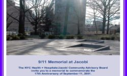"Tuesday, September 11th at 8:30 A.M. ""9/11 MEMORIAL CEREMONY"" at the Jacobi Memorial Garden"
