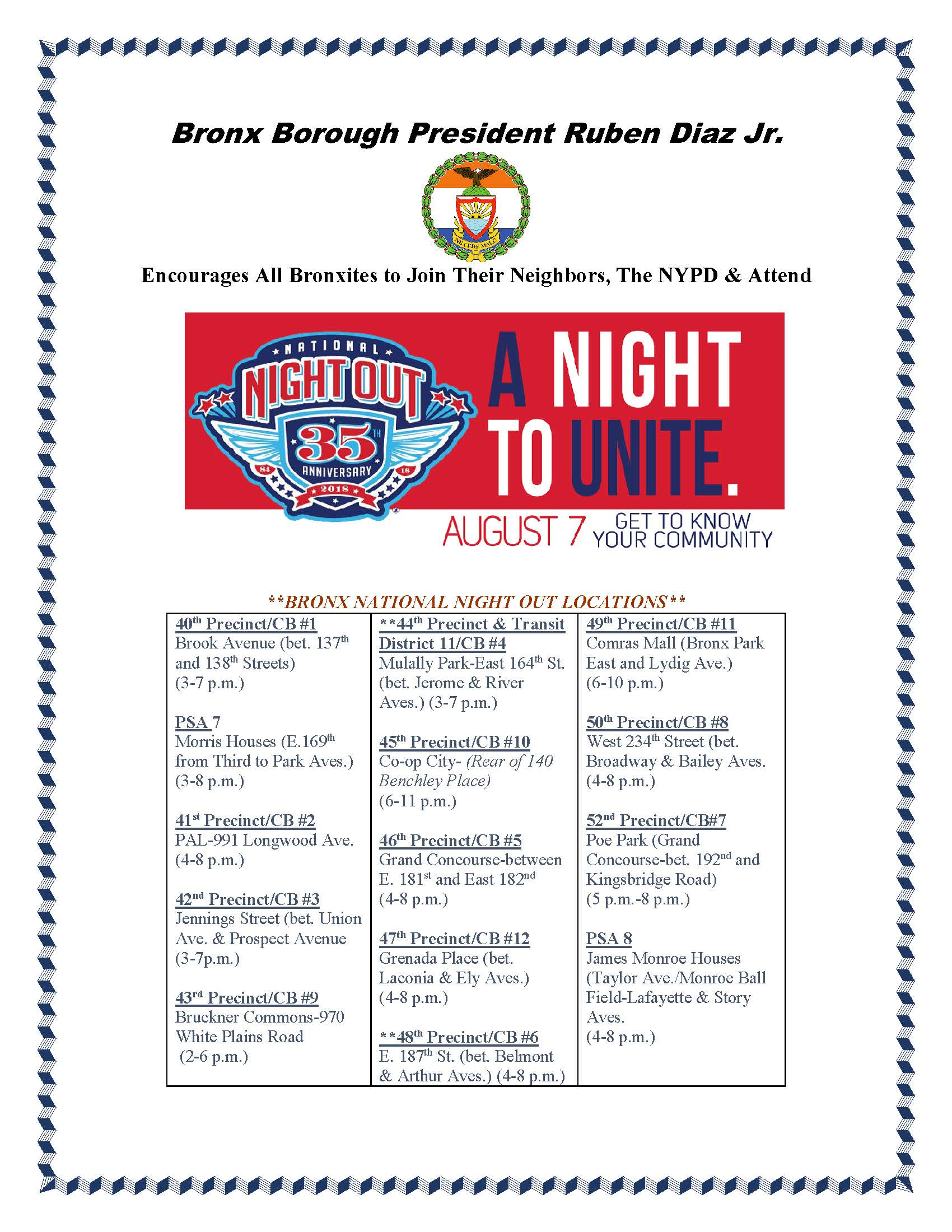Bronx National Night Out locations August 7th