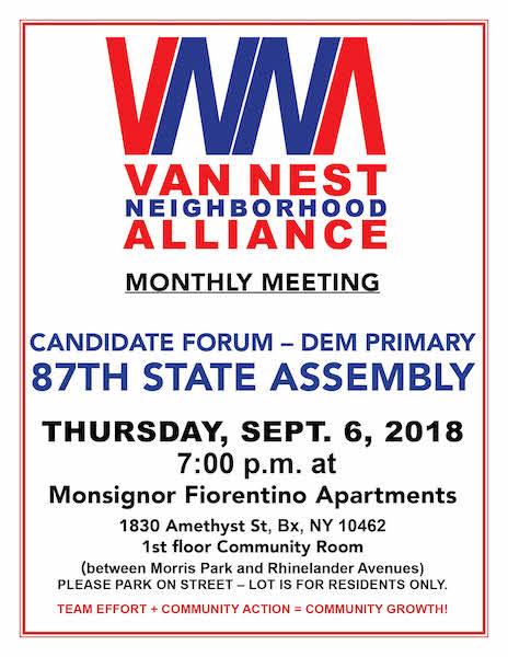 VNNA Monthly Meeting –Thursday September 6th