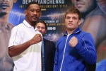 October 24, 2018; New York, NY, USA; Daniel Jacobs and Sergiy Derevyanchenko pose after the final press conference for the Matchroom Boxing USA fight card on October 27, 2018 at the Hulu Theater at Madison Square Garden.  Mandatory Credit: Ed Mulholland/Matchroom Boxing USA