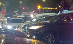 Too many cars and not enough road as traffic grinds to a halt at Webster Avenue and East Bedford Park Boulevard.--Photo by David Greene
