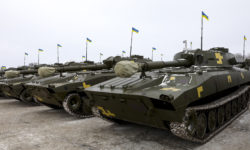 Ukrainian Army tanks mass in the  Zhytomyr region to counter threats from Russia. (Source: https://www.president.gov.ua/en/news)