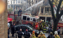 Nearly 200 firefighters battled to halt the spread of the blaze on Hull Avenue on November 20.--Photo by Toby Norwood