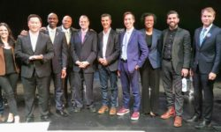 L - R, Michael Knobbe (Bronxnet General Manager), Nomiki Konst, Ron Kim, Michael Blake, Anthony Herbert, Host Gary Axelbank, Ydanis Rodriguez, Benjamin Yee, Dawn Smalls, Rafael Espinal, David Eisenbach, and Jared Rich at the recent Public Advocate debate.