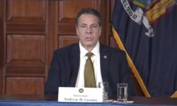 Gov. Cuomo addressing the media during his SALT revenue decline press conference.