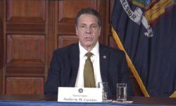 Gov. Cuomo addressing the media during his SALT revenue decline press conference.