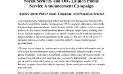 SSA Press Release – Scam Calls PSA