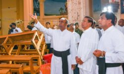 Sri Lanka's President Maithripala Sirisena visited the recently bombed St. Sebastian's Church, Katuwapitiya, Negombo Tuesday morning to inspect damages caused to the church. (Courtesy Government  of Sri Lanka)