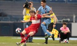 Apr 24, 2019; New York, NY, USA; Chicago Fire midfielder Bastian Schweinsteiger (31) battles for the ball with New York City midfielder Valentin Castellanos (11) during the first half at Yankee Stadium. Mandatory Credit: Vincent Carchietta-USA TODAY Sports