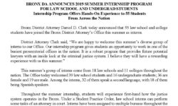 Bronx DA Announces 2019 Summer Internship Program for Law School & Undergraduates