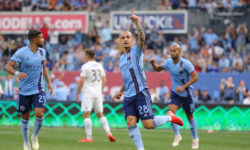 Jun 6, 2019; New York, NY, USA; New York City FC midfielder Alexandru Mitrita (28) celebrates his goal against FC Cincinnati during the first half at Yankee Stadium. Mandatory Credit: Brad Penner-USA TODAY Sports