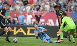 Jun 29, 2019; New York, NY, USA; New York City FC midfielder Valentin Castellanos (11) reacts after being dragged down by Philadelphia Union defender Auston Trusty (26) during the first half at Yankee Stadium. The play led to a penalty kick and NYCFC goal. Mandatory Credit: Brad Penner-USA TODAY Sports