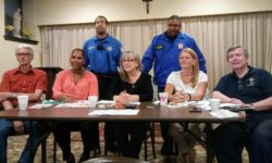 Front (l - r) VNNA Treasurer John Messinger, Vice-President Sharlene Jackson-Mendez, President Bernadette Ferrara, Secretary Marion Manfredi, and Senior Advisor Bob Nolan. Rear police officers Sturdivant and Mederos.