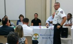 Councilman Mark Gjonaj at the CB 10 meeting where the main concern was the number of police officers on patrol.