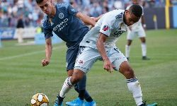 Sep 7, 2019; New York, NY, USA; New York City FC forward Jesus Medina (19) and New England Revolution midfielder Brandon Bye (15) battle for the ball during the second  half at Yankee Stadium. Mandatory Credit: Noah K. Murray-USA TODAY Sports