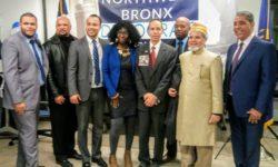 Northwest Bronx for Change President with Executive Board members (L - R) George Cooke, Luis Grullard, Oswald Felix, Rachel Bradshaw, Rafael  Martos, Jose Castillo, Hassan Ali, and Congressman Adriano Espailllat.