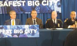 (L-R)  Deputy Police Commissioner Ben Tucker, Mayor Bill de Blasio, Police Commissioner Shea, Chief of Police Monahan, and Chief of Patrol Pichardo.