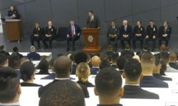 Commissioner Shea addressing the class of recruits at the Police Academy.