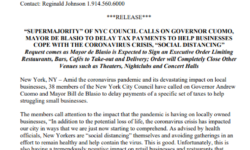"""SUPERMAJORITY"" OF NYC COUNCIL CALLS ON GOVERNOR CUOMO, MAYOR DE BLASIO TO DELAY TAX PAYMENTS TO HELP BUSINESSES COPE WITH THE CORONAVIRUS CRISIS, ""SOCIAL DISTANCING"""