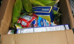 Inside each box was Cereal, Pasta, Canned Fish, Vegetables and Snacks.
