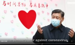 China's President Xi Jin Ping vowed in January a 'people's war' against the  coronavirus. Credit: Xinhua News Agency