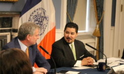 Mayor Bill de Blasio and Chancellor Richard Carranza at City Hall