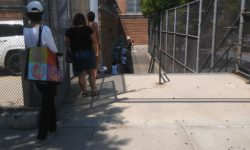 People waiting on line outside a parkchester poll site.