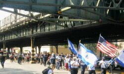 The rally goers march north on Broadway to Van Cortlandt Park.