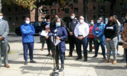 Assemblywoman Reyes speaking about the reason for the additional early voting site in Parkchester.