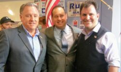 Bronx Republican Party Leader Michael Rendino (center), 14th Congressional candidate John Cummings (left),  and 80th A.D. Assembly candidate Gene Defrancis (right).