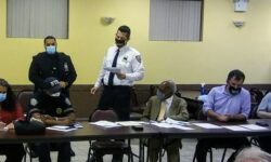 Captain announces P.O. Edward Nunez as the 49th Precinct Cop of the Month.