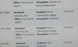 The contributions of Ben Franklin Club President Mike Heller and his wife to the campaign of Eric Dinowitz for City Council 2021.