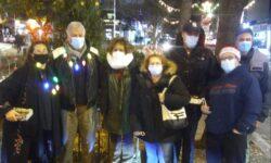 Some of those who gathered to light the Pelham Bay Christmas Tree