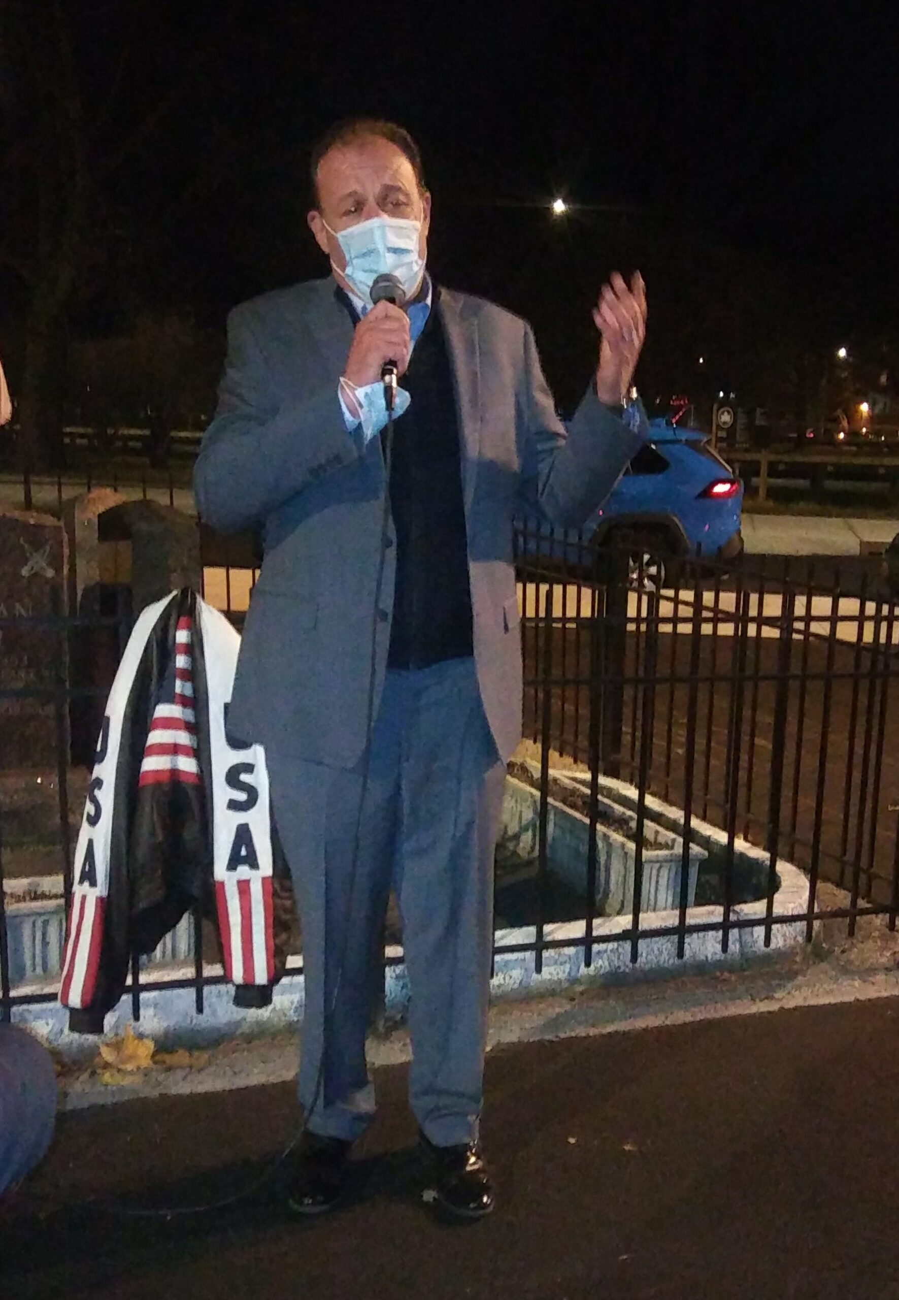 Councilman Mark Gjonaj speaking at the rally about how there was only two day notice to store owners before the indoor dining ban went into effect.