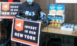 Bronx Jewish Community County Executive Director David Edelstein speaking of the hundreds of people his pantry helps.